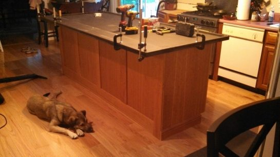 Customizing richlite countertops for a new kitchen island.